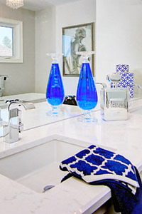 Bathroom Staging With Blue Decorations