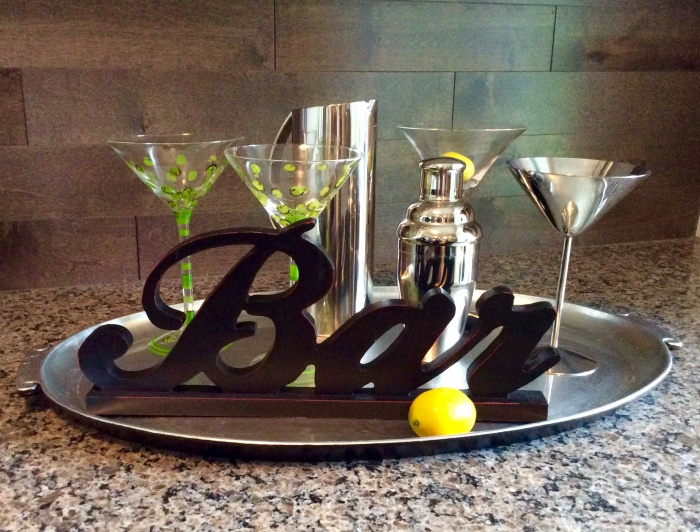 Decorated Bar Tray on a Countertop